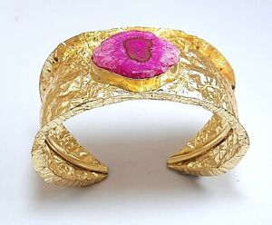 Solar Quartz Gemstone Handmade Gold Platted Jewelry Cuff Bracelet Adjust SC-40