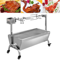 🔥 Stainless Steel BBQ Rotating Barbecue Grill Pig Chicken Charcoal Roaster Spit