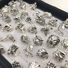 Wholesale 20pcs Lots Retro Punk Animal Mixed Style Antique Silver Rings Jewelry