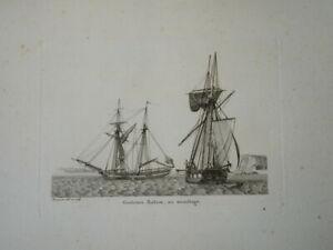BELLE GRAVURE MARINE BATEAU VOILIER MILITAIRE GOELETTE BALAOU ANTILLES 1810