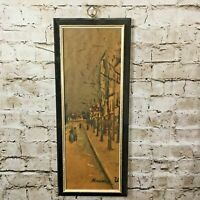 Vintage TMC Chicago Winter City Street Scene Wall Hanging Panel 20 X 9