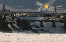 AK  Frankfurt Main gel. 1911 Mondscheinkarte Dom Brücke
