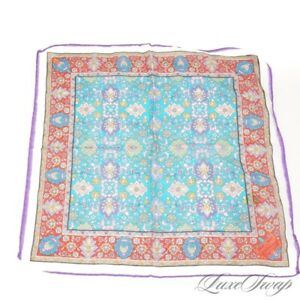 Penrose London Made in Italy Silk Mix Turquoise Red Bucolic Floral Pocket Square