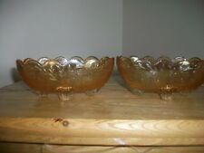 VINTAGE PAIR OF JEANNETTE DEPRESSION GLASS FLORAGOLD-LOUISA FOOTED BONBONS