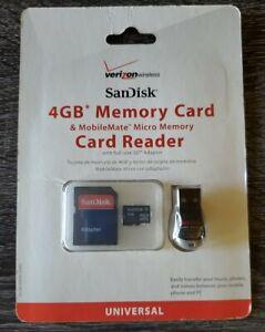 Verizon Sandisk 4GB Memory Card & USB MobileMate Micro Memory Card Reader
