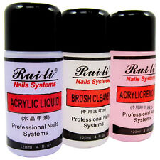 Pro 3 Pcs ACRYLIC 120ML LIQUID+REMOVER+BRUSH CLEANER For NAIL ART Tips SET