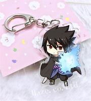 Hot Anime Naruto Uchiha Sasuke Keychain Acrylic Key Ring For Friend Cute Gift