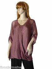 EG 40 42 44 46  Bluse Seidenbluse Shirt silk mit Spaghetti-Top Beere  ITALIEN