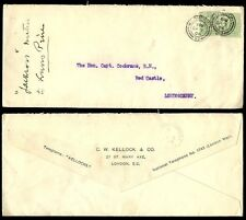 GB KE7 1906 to IRELAND 2 x 1/2d KELLOCK + CO PERFINS + ENV + RAILWAY TPO DERRY