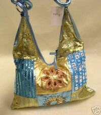 Metallic Blue & Gold Sequin Beaded Retro Purse Handbag