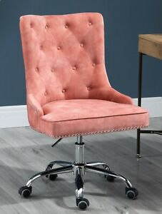 Velvet Fabric Upholstered Tufted Home Office Chair with Studs-Pink