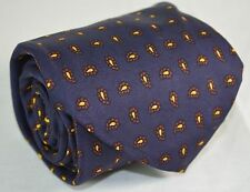 Vtg Makers Navy Blue Framed Pine Classic Neck Tie All Silk Printed in England
