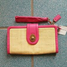 NWT $208 COACH Park Pink Leather & Straw Wallet Wristlet Clutch Bag
