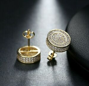 Hip Hop Silver Micro Pave Double Round Screw Back Stud Men's Earrings 460 S