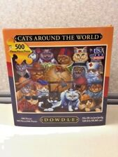"DOWDLE JIGSAW PUZZLE CATS AROUND THE WORLD 500 PIECES 16"" X 20"" IN BOX W/ POSTER"