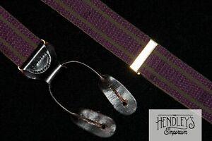 TRAFALGAR Suspenders Olive Green Stripes on Purple Silk Brass and Leather USA