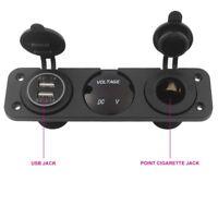 LED Dual USB Car Charger Voltmeter 12V Socket 3 Hole Panel Car Boat Marine UK