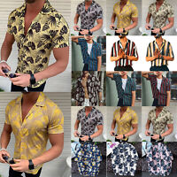 Mens Summer Hawaii Beach T-Shirt Short Sleeve Casual Shirts Striped Blouse Tops