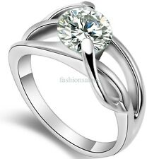 Stainless Steel Clear Cubic Zirconia Infinity Ring Womens Wedding Band Size 5-9