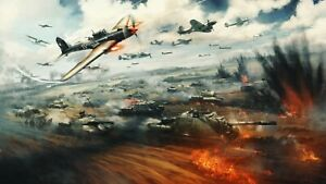 War Battle - Army Tanks Soviet Planes Wall Art Large Poster & Canvas Pictures
