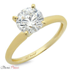 2.85 ct BRILLIANT Round CUT SOLITAIRE ENGAGEMENT RING Prong Set 14K Yellow GOLD