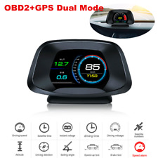 Car HUD Head Up Display Over Speed Warning OBD2 GPS Navigation Speedometer