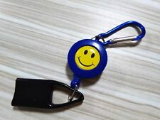 LIGHTER LEASH HOLDER KEYCHAIN CLIP SMILEY (BLUE) E1