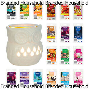 AIRPURE WAX ELECTRIC BURNER MELTER OWL WITH BACKLIGHT & WAX MELT SCENTED CUBE