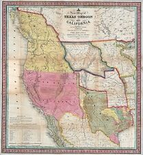 1846 TEXAS REPUBLIC era old MAP atlas poster early history state MEXICAN US WAR