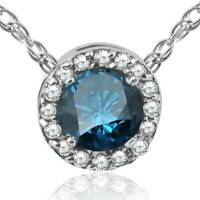 1/2ct Treated Blue Diamond Pave Halo Pendant 14K White Gold Womens Necklace