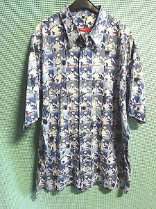 SIGNUM: blau-weißes-Freizeit-Hemd,Gr.L, Kurzarm, wohl Baumwolle,Motiv:DAVID