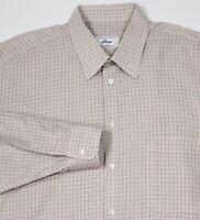 BRIONI Recent Cream w/ Colorful Checkered Cotton Casual-Dress Shirt~ XL