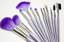 12 pcs Brushes Mineral Purple holder pouch Case Synthetic Fibre makeup Studio