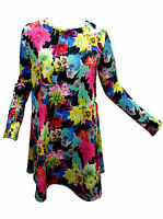 WOMENS FLOWER PRINT SCUBA SWING DRESS PLUS SIZE 20 22 24 26 XXL XXXL LADIES HQ!