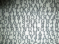 SEWING WORDS KNITTING TEXT BLACK WHITE COTTON FABRIC BTHY