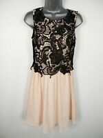 WOMENS BOOHOO PINK BLACK LACEWORK SLEEVELESS FLARE OCCASION PARTY DRESS UK 10