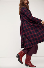 Free People Odessa Duster Long Plaid Jacket Size Medium