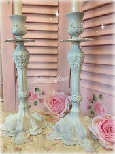 FRENCH ~ SHABBY ~ VINTAGE ~ WHITE ~ METAL ~ ORNATE ~ DISTRESSED ~ CANDLE HOLDERS