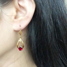 NWT 14K Solid Yellow Gold Oval Red Dangling Earrings - E78