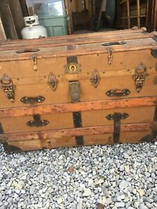 Vintage STEAMER TRUNK Flat Top Wood Metal With Tray