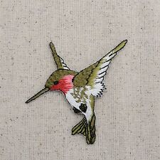 Iron On Embroidered Applique Patch Ruby Red Throat Hummingbird LARGE Left