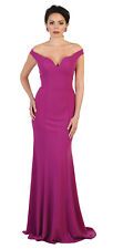 SPECIAL OCCASION SIMPLE EVENING FITTED GOWN DESIGNER OFF THE SHOULDER PROM DRESS