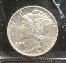 1945 Mercury Silver Dime - Gem    FROM ORIGINAL ROLL    WW 3