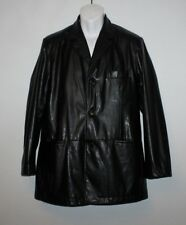 Black Look Leather CASA BLANCA Button Hip Length Casual Jacket Blazer Size 50