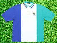 """VTG 90s Olde Salem Greens Men XL 47"""" Golf Polo Shirt Color Block Cotton Course"""