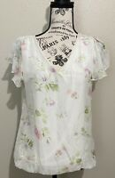 NWT Giusy Blouse Italy Pure Silk Floral Print Top V-Neck Women's Size M