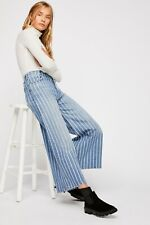 Free People We The Free Earn Your Stripes Wide Leg Ankle Jeans Size 30