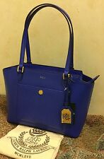 NWT Ralph Lauren Newbury Pocket Leather Satchel Handbag Purse Tote Pacific Blue