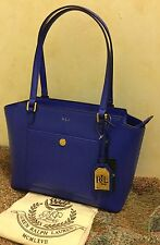NWT Ralph Lauren Newbury Pocket Leather Satchel Handbag Purse Tote Pacific Blue