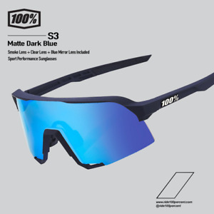 100% Cycling Sunglasses - Matte Dark Blue / Blue Mirror
